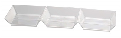 Fineline Tiny Temptations 7.5 Clear Plastic 3 Sectional Tiny Tray 200/CS 6212-CL
