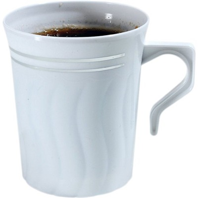 Silver Splendor 8 oz Coffee Mug White 10/12 CT 508-BO Fineline