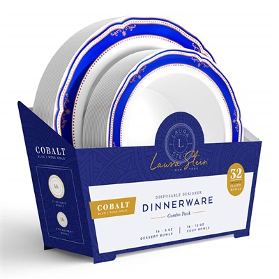 Cobalt Blue Combo 5 oz & 12 oz Bowl W/ Blue/ Rose Gold Border 16+16 4/CS (CB-BC512-BRG)