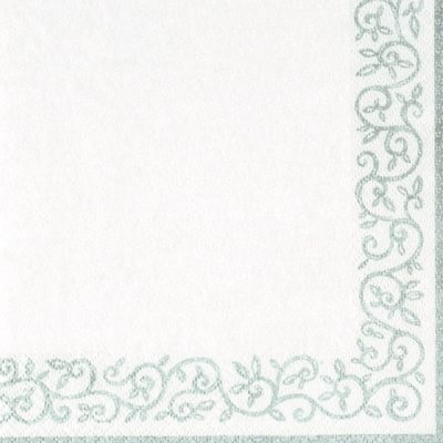 Silver Border White Cocktail Napkin 12/20 CT 275413