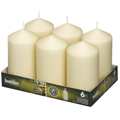 Bolsius Pillar Candles Ivory 148/78 mm (aprox 3X6″) 6/PK BB51505