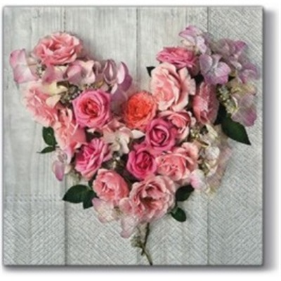 Rose Heart Lunch Napkin 12/20 CS
