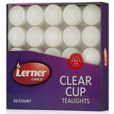 Tealight Lerner 4.5 Hour Clear 16/50 Pk.
