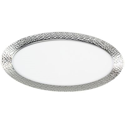 Serving Tray Oval Hammered White/Silver 50/2CT (2730)