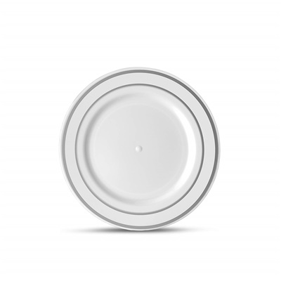"Classic Series 6"" White/silver Dessert Plates 12/10 CT (CLS-P6S)"