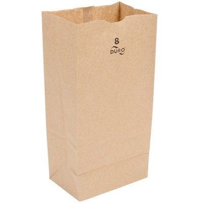 8 lb Brown Paper Bag 500 Bundle Duro