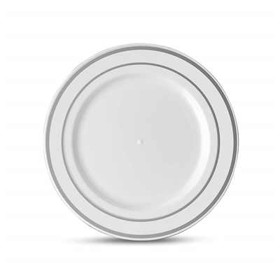 "Classic Series 7"" White/silver Salad Plates 12/10 CT (CLS-P7S)"