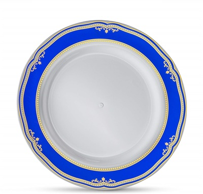 "Cobalt Blue 9"" White Dinner Plates W/ Blue/gold Border 12/10 CT (CB-P9-BG)"