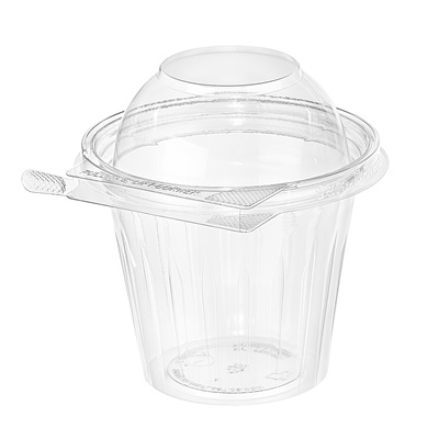 Safe-T-Fresh 12 oz. Clear Tamper Resistant Round Fruit Cup Dome Lid 256/CS TS12CCRD