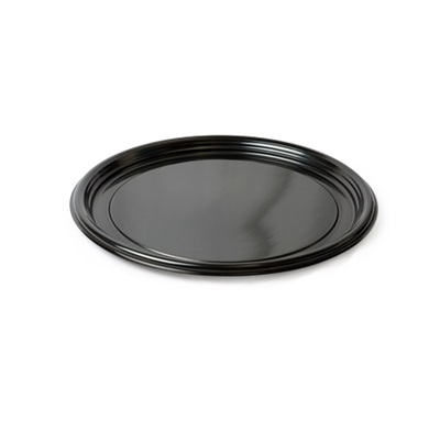 "Thermoform 12"" Round Cater Trays Black 25/CS Fineline 7210TF-BK"