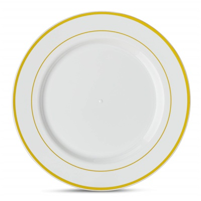 "Classic Series 10"" White/gold Dinner Plates 12/10 CT (CLS-P10G)"