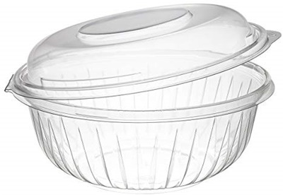 Dart C32HBD PresentaBowls 32 oz. Clear Hinged Plastic Bowl with Dome Lid - 150/CS