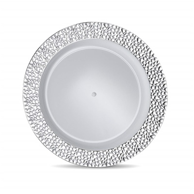 "Glitz Metalized Silver 9"" White Lunch Plates With Silver Border 12/8CT (GLZ-P9S)"
