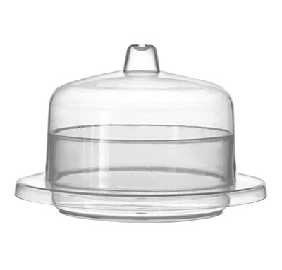 Fineline Tiny Temptations 2 oz. Clear Round Tray with Lid 120/CS 6700-CL
