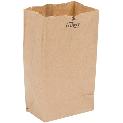 3 lb Brown Paper Bag 500 Bundle Duro