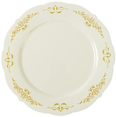 "Fineline Heritage 7 1/2"" Round Bone / Ivory Plastic Plate with Gold Trim 120/CS 5975-BOG"