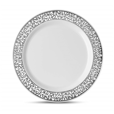 "Lace Series 7"" White/silver Salad Plates 12/10 CT (LCE-P7S)"