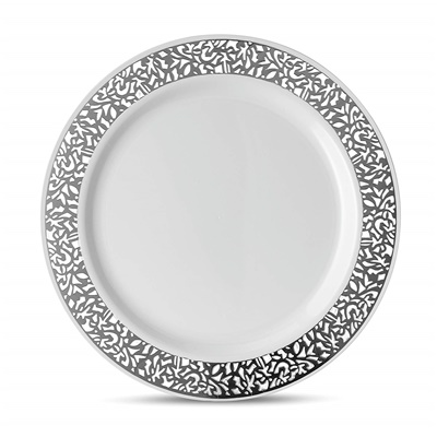 "Lace Series 10"" White/silver Dinner Plates 12/10 CT (LCE-P10S)"