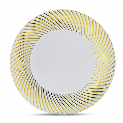 "Curve Series 9"" White/Gold Plates 12/10 CT (CRV-P9G)"